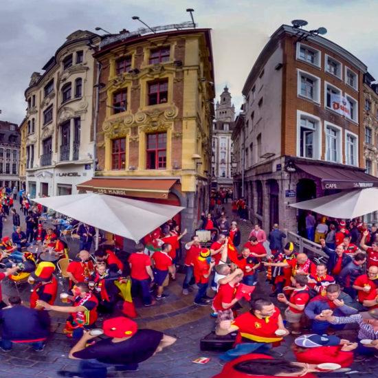 Les supporters belges et gallois sur Lille pour l'euro 2016 en VR